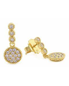 White Sapphire Drop Earrings in Yellow