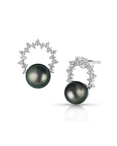 Tahitian Pearl and Diamond Circle Earrings