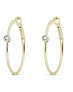 Hoop Earrings with Bezel Set Diamonds