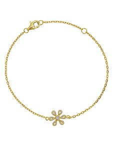 Petite Chain Bracelet with Diamond Flower