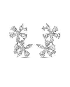 Double Diamond Flower Earrings