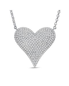 Larger Pave Diamond Heart Necklace