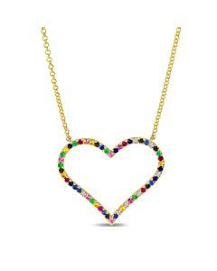 Rainbow Sapphire Heart Necklace
