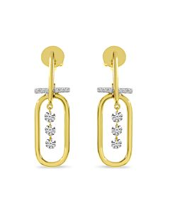 Paperclip Earrings with Dashing Diamonds