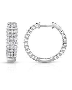 Triple Row Diamond Hoop Earrings