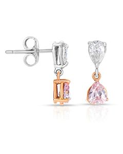 Fancy Pink and White Diamond Earrings