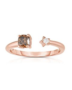 Cognac and White Starry Cuff Ring
