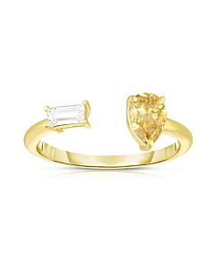 Yellow and White Diamond Cuff Ring