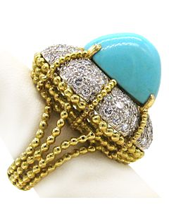 Turquoise and Diamond Estate Ring