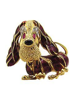 Rino Frascarolo Enameled Dog Brooch