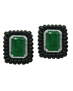 Emerald, Onyx and diamond earrings