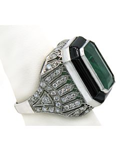 Emerald, onyx and diamond ring