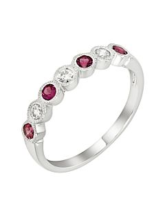 Garnet and Diamond Stackable Ring