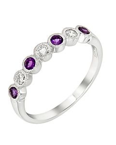 Amethyst and Diamond Stackable Ring
