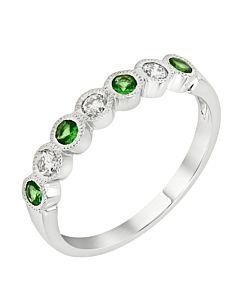 Tsavorite and diamond stackable ring