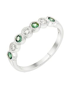 Alexandrite and Diamond Stackable Ring