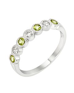 Peridot and diamond stackable ring