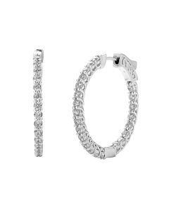 2 ct round diamond hoop earrings