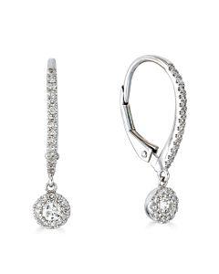 Dangling Diamond Halo Earrings