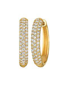 Three quarter carat hinged hoop earrings