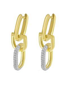 Horseshoe Link Earrings with Diamonds