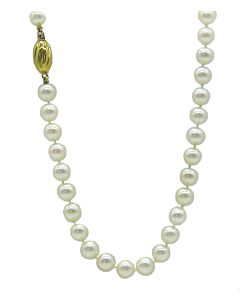 Cultured Pearl Necklace with fluted yellow clasp