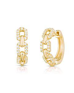 Diamond Link Hinged Hoop Earrings