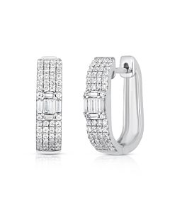 Round and Baguette Diamond Hinged Hoops