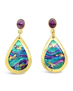 Abalone Earrings with Amethyst
