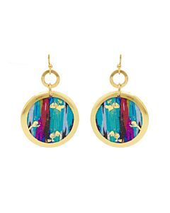 Boho Blue Disc Earrings
