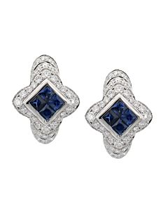 Sapphire and Diamond Earrings in Blue or Pink