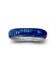 White Gold, Blue Enamel Insert Ring