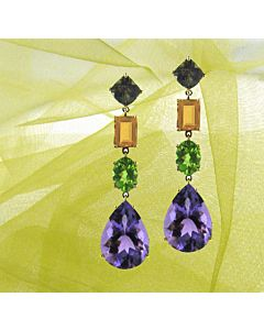 18k Multi Color Gemstone Earrings from Joon Han