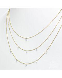 14k Gold Triple Tier Diamond Necklace