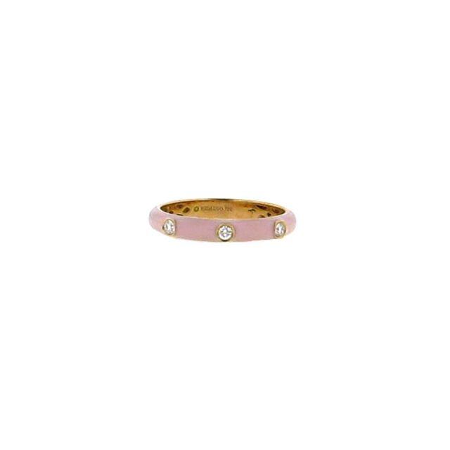 Baby Pink Enamel & Diamond Ring