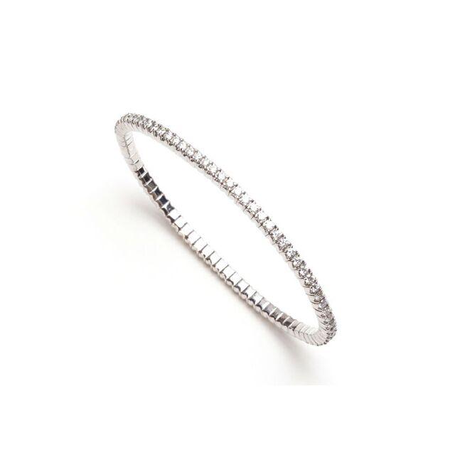 Flexible White Gold & Diamond Bangle Bracelet