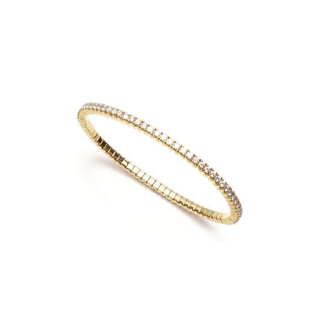 Flexible Yellow Gold & Diamond Bangle Bracelet