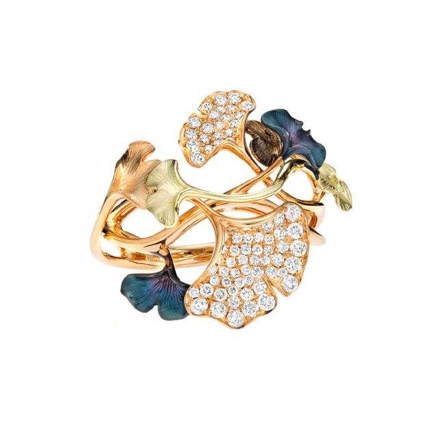 Multi-Leaf Ginkgo Diamond Ring