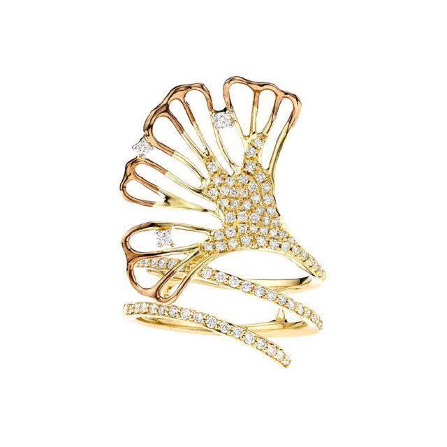 18k Gold Diamond Ginkgo Leaf Ring