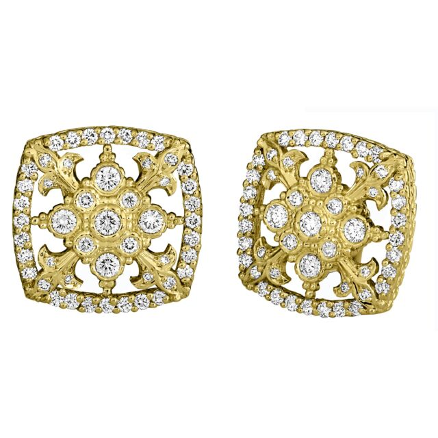 Yellow Gold Diamond Cascata Fleur De Lis Earrings