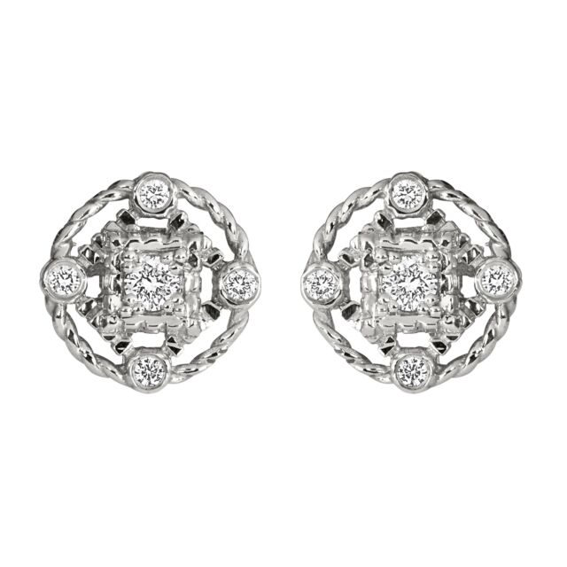White Gold Five Diamond Stud Earrings