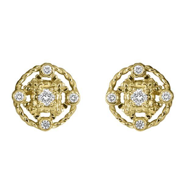 Yellow Gold Five Diamond Stud Earrings