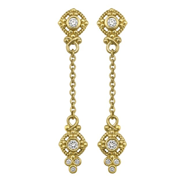 Diamond Two Station Chain Drop Earrings