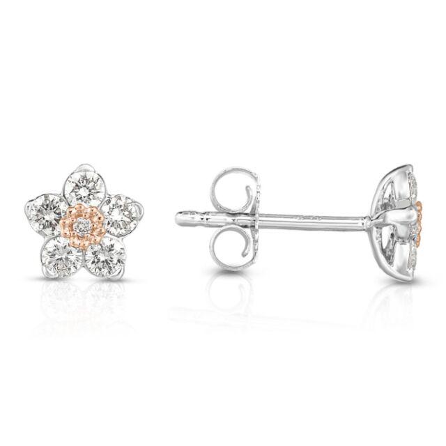 Two Tone Diamond Flower Earrings