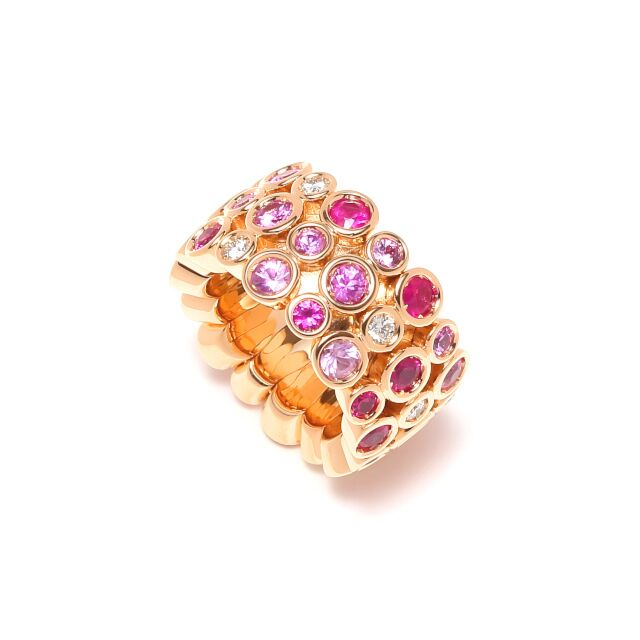 Multi-Pink Sapphire Flexible Ring