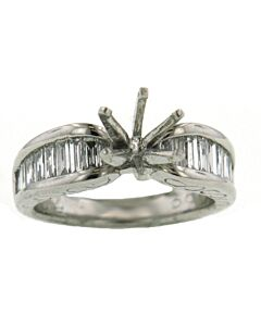 Platinum and Baguette Diamond Ring Mounting