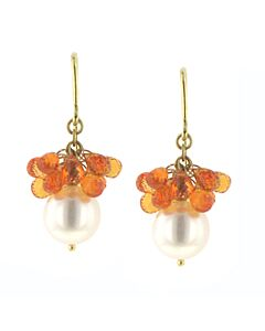 eli jewels orange sapphire and pearl earrings