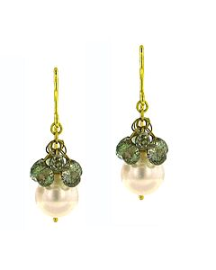 eli jewels green sapphire and pearl earrings