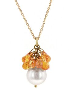 eli Jewels Sapphire Briolette and Pearl Pendant