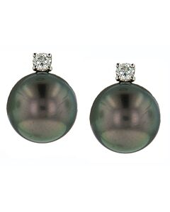 Classic Tahitian Pearl and Diamond Earrings